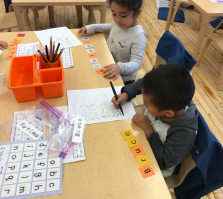 Bruce and Alexandra in K/1-14 are working hard studying words, and names.