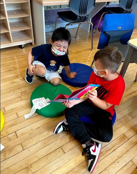 kids sharing their work